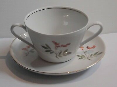 Kahla Konitz Germany 2 Handled  Soup Bowl & Saucer Red Berries