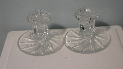 Pair Vintage Crystal Taper Candle Holders Pinwheel Design