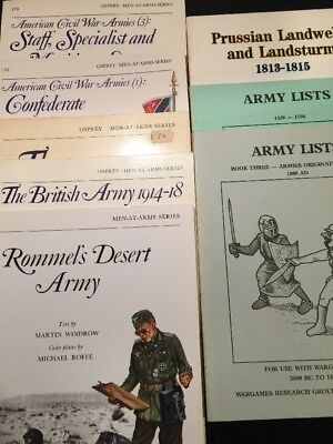 Lot Of 8 Military Books Men At Arms Series-Osprey+Army Lists+