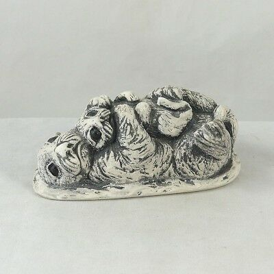 BEKKA Mt. St. Helens Volcanic Ash Otter on Back w/ Baby Otter on Chest Figurine