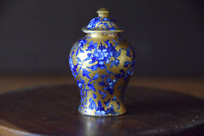 A Stunning Crown Staffordshire Gilded Miniature Blue And White Vase And Cover