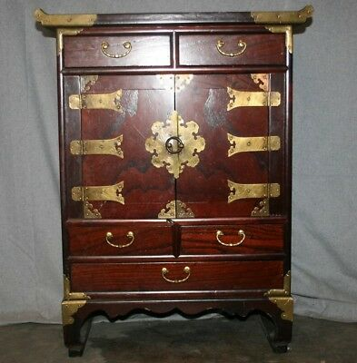 Korean Asian Art Vintage Wooden/Brass Small Drawers Chest/Cabinet *Local Pickup*