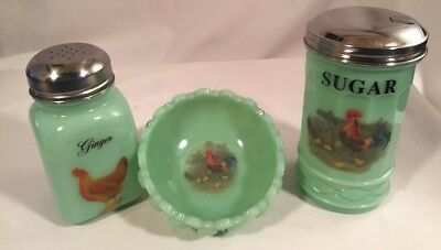Lot of 3 Jade Jadeite Jadite Green Glass w/ Chickens Roosters