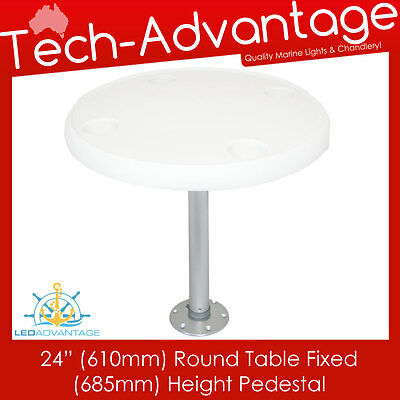 "Boat Deck Caravan White 24"" (610Mm) Round Table 685Mm Height Pedestal & Base"