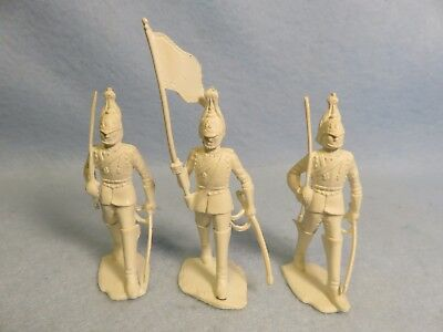 Marx 1950's soft plastic 60mm English Horse Guards, 3 in white