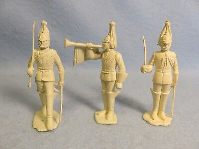 Marx 1950's soft plastic 60mm English Horse Guards, 3 in cream