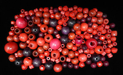 Vintage Lot of RED Wood Macrame Beads