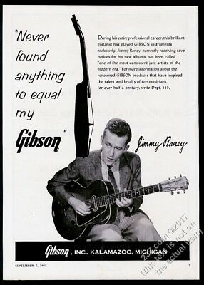 1955 Gibson guitar Jimmy Raney photo vintage print ad
