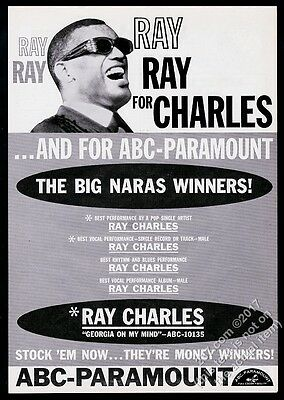 1961 Ray Charles photo Georgia On My Mind record release vintage trade print ad