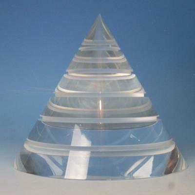 Steuben Crystal Art Glass - Cut Obelisk Pyramid Concentricity Paperweight