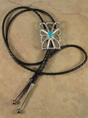 Vintage Pawn Sterling Silver & Kingman Turquoise Bolo Tie