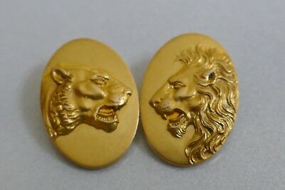 1890's Antique 14K yellow gold Lion & Lioness Buttons / Slides