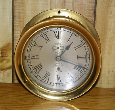 Vintage E. Howard & Co.  Boston Brass Ship's Clock Wind-Up Working Order #1512