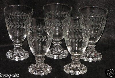 Vintage Set of (5) Anchor Hocking Crystal Boopie Ball Foot Wine Goblets Glasses