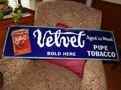 Old original Velvet pipe tobacco porcelain sign- some edge wear-strong colors