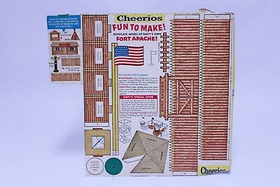 Vintage Cheerios Railroad Models Cereal Box Back Cut Out Rin Tin Tin Fort Apache