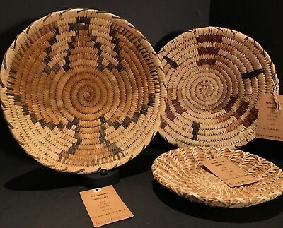 Great Set of 3 Vintage PAPAGO WOVEN BASKETRY INCL PICTORIAL - Orig Tags! - Mint