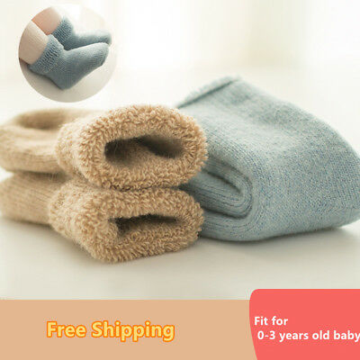 US thick warm winter cotton towel socks children soft  terry flanging baby socks