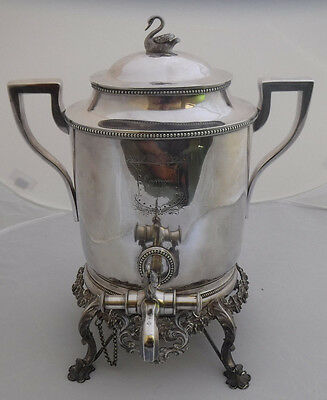 SHREVE STANWOOD & CO Ornate Solid Sterling Hot Water Kettle STAND FIGURAL c.1860
