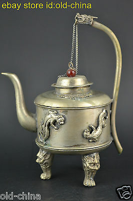 China Collectible Decorate Old Tibet Silver Carve Dragon Unique Teapot Noble