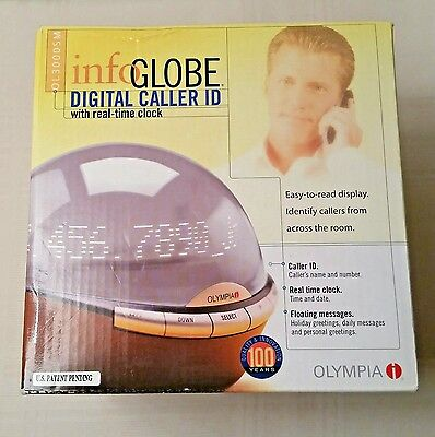 New Olympia Info Globe Digital Caller ID Clock OL3000SM Color Brown