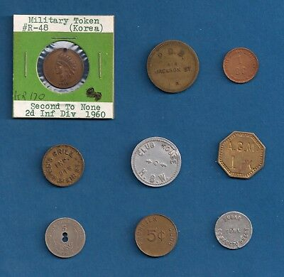 Korea US Military Indian Head + misc. Good For Trade & some Coal Script Tokens