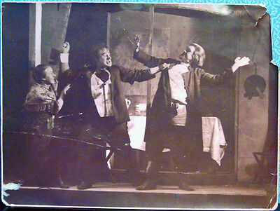 Vintage Photo with Stage Scene in Russian Theatre