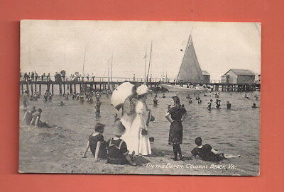 Colonial Beach, VA - On The Beach Pier Bathers Sail Boat 1909 Postcard