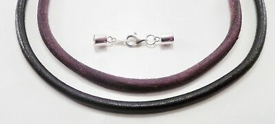 6mm smooth leather sterling silver necklace black or brown u pick length