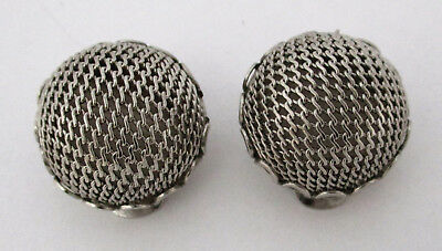 Vintage Silvertone Mesh Earrings Napier