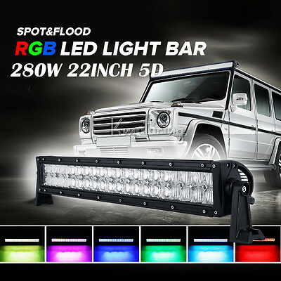 "22"" 280W 5D CREE RGB APP DIY Spot&Flood LED WORK LIGHT BAR 4WD 4X4 4WD CAR 52"""