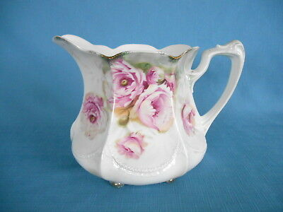 Antique RS GERMANY TABLE PITCHER w/ BEAUTIFUL PINK ROSES & EMBOSSING  6 TAB FEET