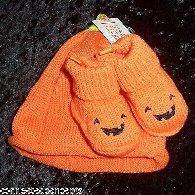 Carters Just One You Halloween Pumpkin Infant Hat and Booties NEW!