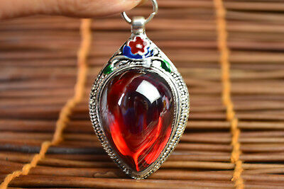 China Style Decor Old Red Jade Tibet Silver Delicate Noble Pendant