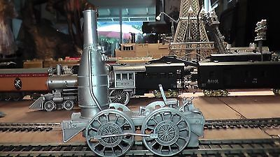 Solid Pewter Metal - Static Non Powered Model - Early Steam Engine Locomotive