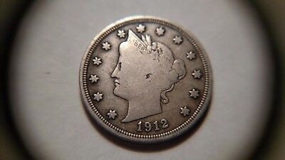 """1912-S 5C Liberty Nickel - F-VF - COMPLETELY PROBLEM FREE - CLEAR 'S"""" - KEY DATE"""