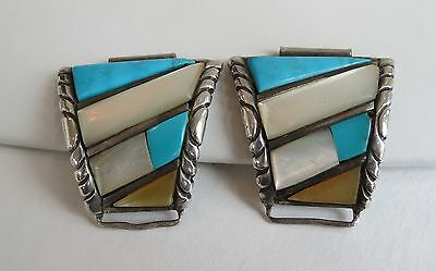 Vintage 1970s  Watch Bands tips Zuni turquoise MOP pearl  sterling silver