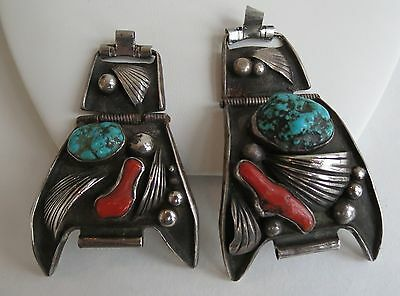 BIG funky odd weird Navajo dramatic sterling silver turquoise coral watch bands