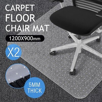 2x Carpet Chair Mat Floor Protector Office Computer Plastic Chairmat-120 x 90cm