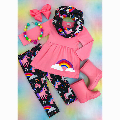 Christmas Kids Newborn Baby Girls Outfits Set Clothes Top T shirt Pant Leggings