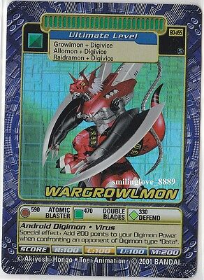 Digimon Digi-Battle Holo Foil Rare Card - Series 4 - Bo-165S Wargrowlmon + Bonus