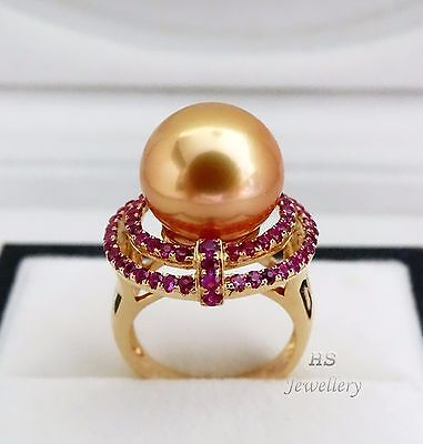 HS Golden South Sea Cultured Pearl 13.5mm & Ruby 1.38ctw 18K Yellow Gold Ring