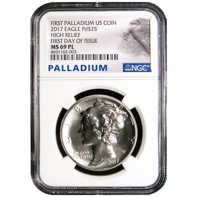 2017 $25 American Palladium Eagle .9995 1 oz NGC MS69PL FDI Palladium Label