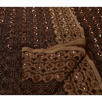 TCW Vintage Indian Saree Net Mesh Hand Beaded Woven Craft Fabric Sari