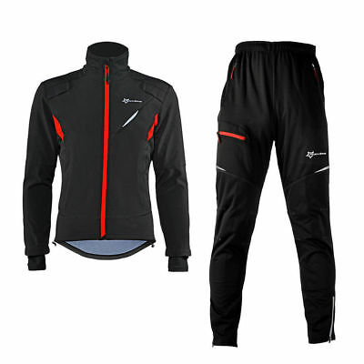 ROCKBROS Winter Cycling Thermal Warm Windproof Suit Cycling Jacket & Pants Black