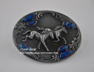 Western Men Cowboy Metal 3D Two Running Horse with lace Belt Buckle