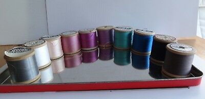 Thread on 10 Vintage Wooden Reels in Different Colours