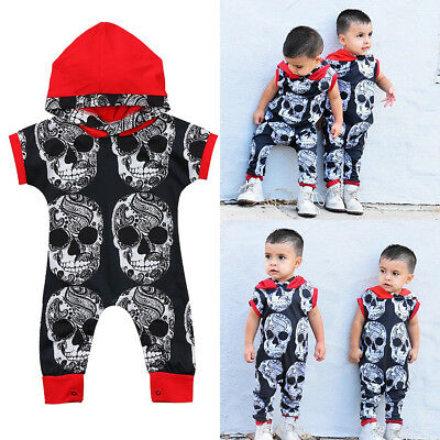 Uk Stock Toddler Infant Baby Boy Halloween Hooded Romper Jumpsuit Outfit Clothes
