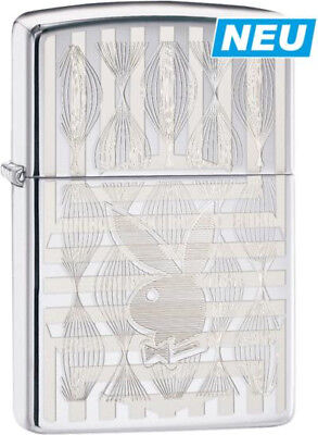 """Zippo 2017 New !! """"playboy Bunny"""" Polished Chrome Engr. Lighter  **new In Box**"""