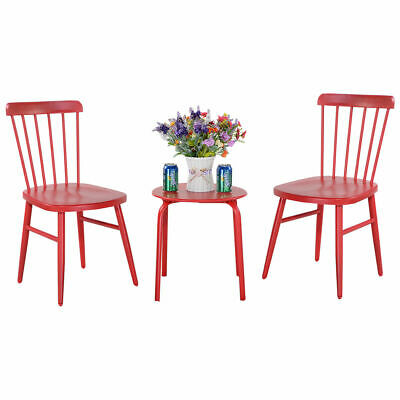 3PCS Patio Table Chairs Furniture Set  Bistro Garden Lawn Pool Side Steel Red